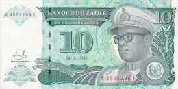 Zaire 10 Nouveaux Zaire 1993 Pick 54 UNC - Zaire