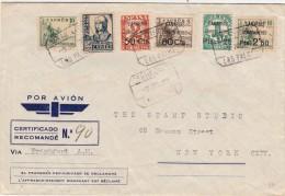 Gran Canaria, Spagna To New York City. Cover Raccomandata Con Censura Militare 1937 - Marcas De Censura Nacional