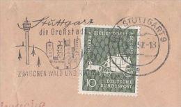 1957 GERMANY Stamps COVER SLOGAN Pmk Illus STUTTAGRT TELECOM TOWER For RADIO TV  Broadcasting Television - Telecom