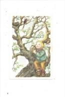 12361 - Mini Carte Enfant Dans Arbre Admirant Des Oiseaux Signé A Bo - Illustrateurs & Photographes