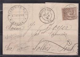 = Pli De Toulon 17.8.81 à  Solliès-Pont (cachet Nice à Marseille 18.8) Timbre 80 Sage 30c - 1877-1920: Periodo Semi Moderno