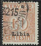 LIBIA 1915 SERVIZIO COMMISSIONI SERVICE FEES CENT. 60 C USATO USED OBLITERE´ - Libia