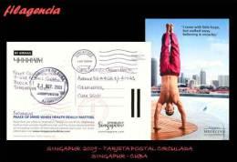 ASIA. SINGAPUR. ENTEROS POSTALES. TARJETA POSTAL CIRCULADA 2009. SINGAPUR-CUBA. TARJETA FRANQUEO PREPAGO. TEMA MÉDICO - Singapore (1959-...)