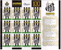 San Marino 2010 SANTOS Calcio Centenario Football 1 Minifoglio Con 12 Valori - Saint-Marin