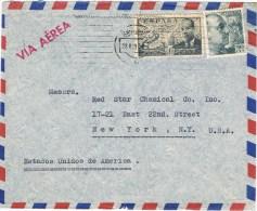 12586. Carta Aerea SARRIÁ (Barcelona) 1954 A Estados Unidos - 1931-Hoy: 2ª República - ... Juan Carlos I
