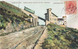 12594. Postal TIBIDABO (Barcelona) 1910. Fechador Violeta. Apeadero Estacion Funicular - Briefe U. Dokumente