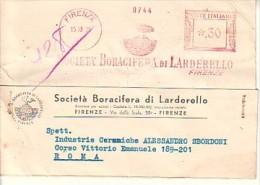 "Affrancature Meccaniche \"" Le Rosse \""Società Boracifera Di Larderello - Firenze 15 10 1936-- Era Fascista -- - Machine Stamps (ATM)"