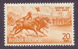 Indonesia 1961 Visit The Orient Year - Tourism, Tourisme, Karapan Sapi, Bull Racer, Folklore, Culture, MNH - Indonésie