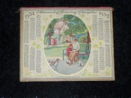 1932 ALMANACH CALENDRIER DOUBLE OUVRANT DES POSTES ET TELEGRAPHES PTT P.T.T, SESSIN ILLUSTRATION LA LECON DE LECTURE, - Calendriers