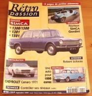RETRO PASSION  N° 121 SEPTEMBRE 2000 SIMCA 1300/1500 SIMCA GORDINI CHEVROLET CAMARO - Auto