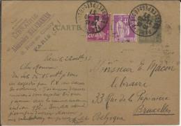 FRANCIA PARIS 1937 ENTERO POSTAL CON FRANQUEO ADICIONAL - Enteros Postales
