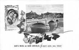 """01455 """"TORINO  PONTE UMBERTO I E MONTE DEI CAPUCCINI - ICONA S. MARIA DEL BUON CONSIGLIO""""  CART. POST. SPEDITA 1910 - Churches"""