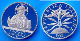 ITALIA 2000 L 2000 ARGENTO PROOF SILVER VERSO IL 2000 LA FEDE PESO 16g TITOLO 0,835 CONSERVAZIONE FONDO SPECCHIO - 1946-… : Repubblica