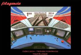 AMERICA. CUBA MINT. 2014 TRENES MODERNOS. HOJA BLOQUE - Cuba