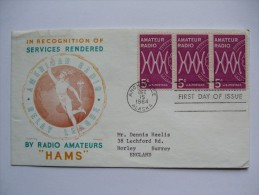 USA 1964 FDC AMATEUR RADIO WITH ANCHORAGE ALASKA MARK TO ENGLAND - Premiers Jours (FDC)