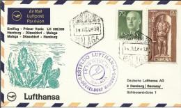MALAGA CC PRIMER VUELO 1966 MALAGA DUSSELDORF HAMBURG AL DORSO MAT HAMBURG - Poste Aérienne