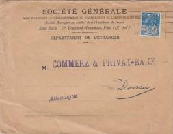 1931. LETTRE . N°  273  PERFORÉ SOCIETE GENERALE. PARIS Pour COMMERZ & PRIVAT-BANK  DESSAU ALLEMAGNE/4622 - 1921-1960: Période Moderne