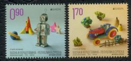 Bosnia Serbia 2015 Europa CEPT, Old Toys, Robot, Tractor, Set MNH - Bosnien-Herzegowina