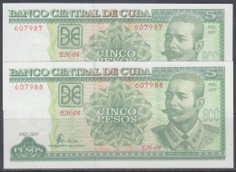 2005-BK-10 CUBA. BANCO NACIONAL DE CUBA. 2005. 5$. MAXIMO GOMEZ UNC. 2 CONSECUTIVE BANKNOTE. - Cuba