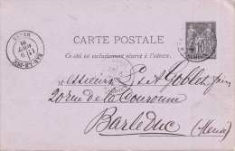 FRANKREICH 1881 - 10 C Ganzsache Auf Pk V. Strassbourg? N. Bar Le Duc