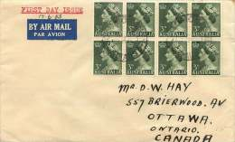 1953  Queen Elizabeth  3d. Definitive   Block Of 8  On FDC To Canada  SG 262 - FDC