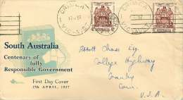 1957  South Australia Responsible Government Centennial 2x On Royal FDC To USA  SG 296 - FDC