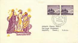 1959  Christmas Issue «The Magi» Pair On Royal FDC To USA   SG 333 - FDC
