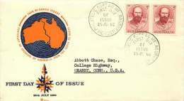 1962  John McDoual Stuart  Centenary Of Crossing Australia From South To North Pair Royal FDC To USA SG 342 - FDC