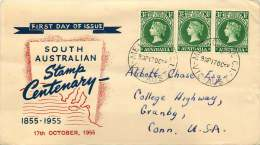 1955 South Australia Stamp Centenary  Pair +1 On Miller Bros. FDC To USA  SG 288 - FDC