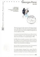 """2002 : Notice Officielle 1er Jour """" GEORGES PEREC """" N° YT 3518. Parfait état - Stamps"""