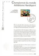 """Notice Officielle 1er Jour De 2002 """" CHAMPIONNATS DU MONDE D´ATHLETISME HANDISPORT """". N° YT 3495. Parfait état. - Handisport"""