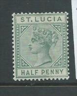 St Lucia 1883 Queen Victoria 1/2d Green Die A MNH - St.Lucia (...-1978)