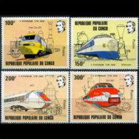 CONGO 1982 - Scott# 627-30 Locomotives Set Of 4 MNH - Neufs