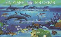 United Nations Block 27 - 50th Ann. International Oceanographic Commission - Dolphin - Turtle - Shark * * - 2010 - New York - Sede De La Organización De Las NU