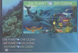 United Nations FDC  Block 26 - 50th Ann. International Oceanographic Commission - Dolphin - Turtle - Shark - 2010 - FDC