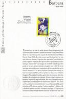 """★  Notice Officielle 1er Jour De 2001 """" BARBARA """".  N° YT 3396. Parfait état !"""