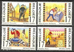 Belgium**Blacksmith-Carpenter-Mason-StoneSculptor-4vals-1997-Craftsmen-MNH-Métiers-AMBACHTEN - Belgio