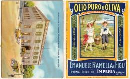 """01462 """"IMPERIA - ONEGLIA - EMANUELE RAMELLA E FIGLI  - PRODUTTORI OLIO D'OLIVA """" . PUBBLICITA' A STAMPA ORIGINALE - Alcolici"""