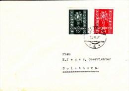 Brief Von Satteins Vorarlberg Nach Solothurn Mit 12 + 12 Gr. Glückwunschmarken 1937 - Covers & Documents