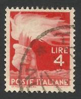 Italy, 4 L. 1946, Sc # 471A, Mi # 693, Used - 5. 1944-46 Lieutenance & Umberto II