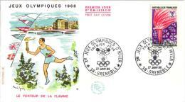 PREMIER JOUR ,JEUX OLYMPIQUES 1968,PORTEUR DE LA FLAMME  REF 43207 - Inverno1968: Grenoble