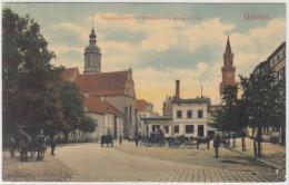 Oppeln Schlesien Regierungsplatz Mit Rathausturm U. Evang. Kirche 1909 - Schlesien