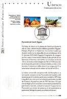 """Notice Officielle 1er Jour De 2001 """" UNESCO 2001 : PYRAMIDES - EG / KOMODO """" N° YT SERV 124 125 En Parfait état !"""