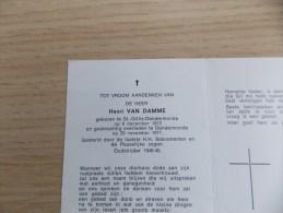Doodsprentje Henri Van Damme Sint Gillis Dendermonde 6/12/1912 Dendermonde 20/11/1977 - Religione & Esoterismo