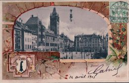 Basel, Cadre Fleurs Et Armoirie Litho Gaufrée (4757) - BS Bâle-Ville