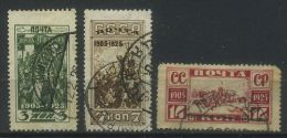 USSR 1925 Michel 302A-304A 20th Anniversary Of Revolution Of 1905 Used - Usados