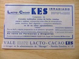 PUBLICIDAD DE 1931 - LACTO CACAO KES - PUBLICITÉ 1931 - CACAO LACTO KES - Publicidad