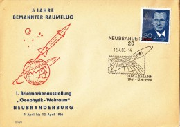 GAGARIN First SPACE Cosmonaut -  GERMANY DDR  RARE Post Cover / RARE Cancellation 1966 - Rusland En USSR