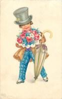 Hannes Petersen - Illustrateur - ** Jeune Homme - Parapluie - Bouquet ** - Cpa -  - Voir 2 Scans. - Petersen, Hannes