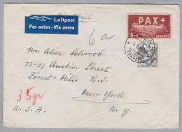 Schweiz 1946-01-06 Bern 35 Gr. Luftpostbrief Nach N.Y. Mit 5Fr. Pax + 40Rp. Zusatz - Suisse